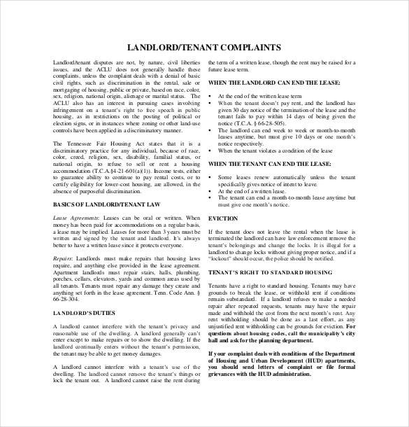 landlord complaint templates