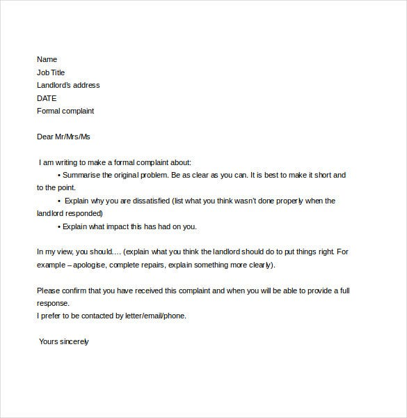 complaint letter to landlord free download