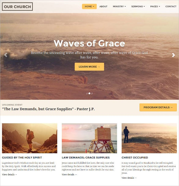 church website non profit blog responsive template 171