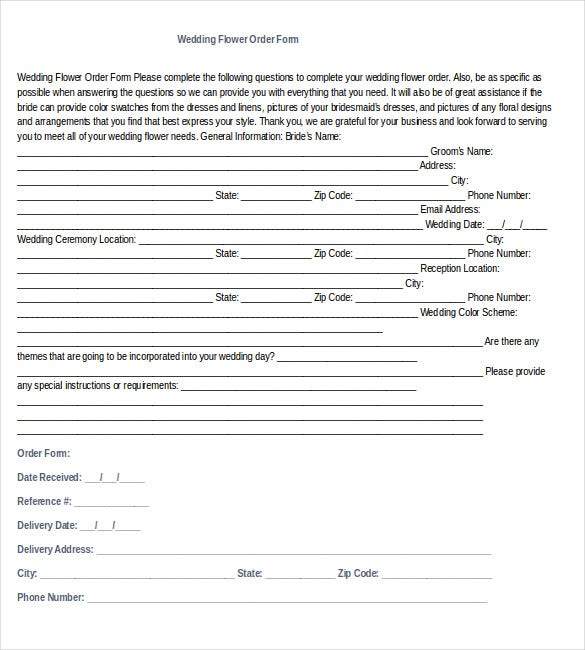 simple wedding order word document download