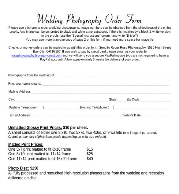 wedding photo order form