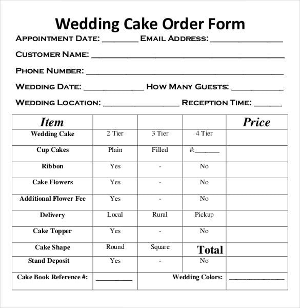 wedding cake order form free document download