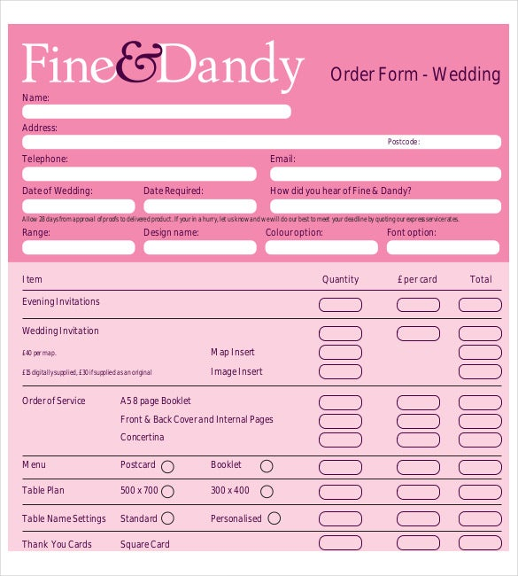 online wedding plan order document to download