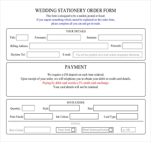 wedding stationery order form