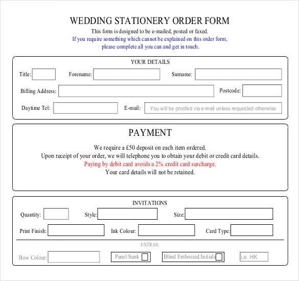 wedding stationery order form