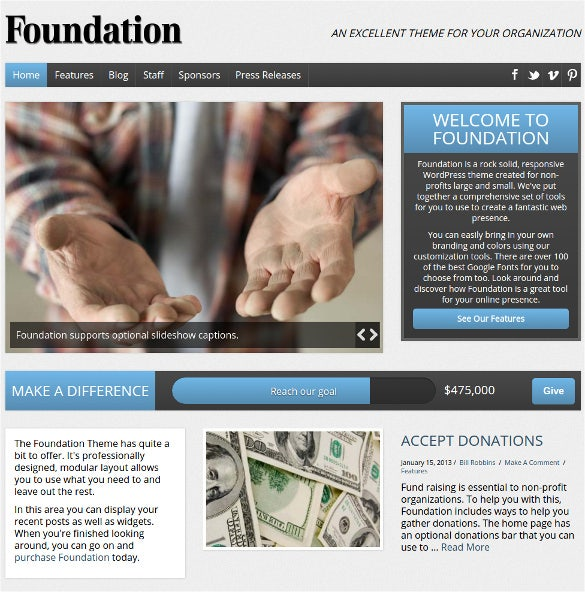 charity foundation non profit html5 wordpress theme 591