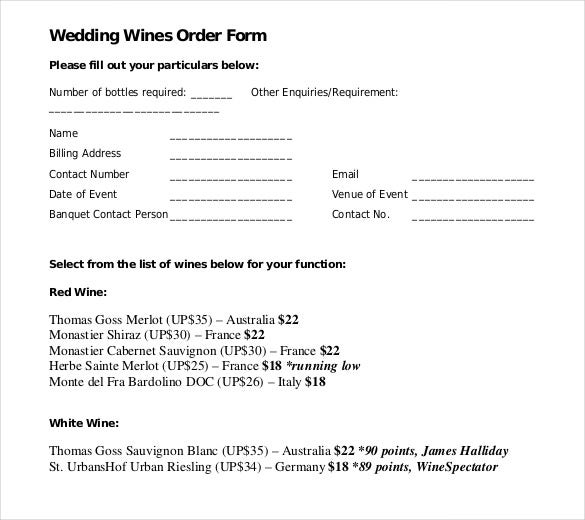 wedding wines order form download