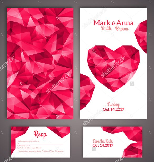 wedding brochure template with heart symbols