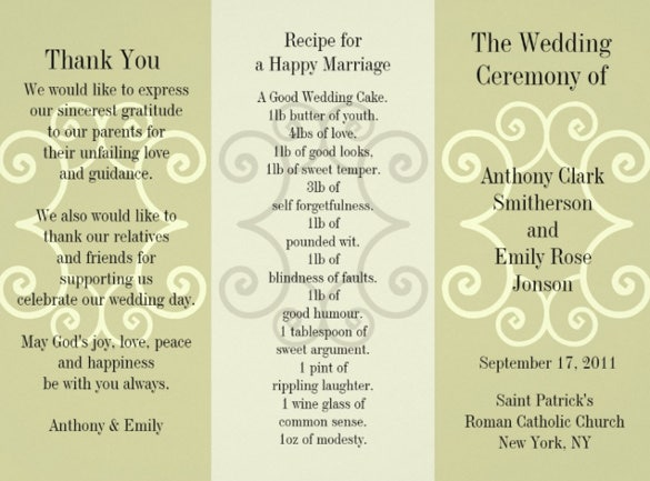 easy to download wedding brchure template