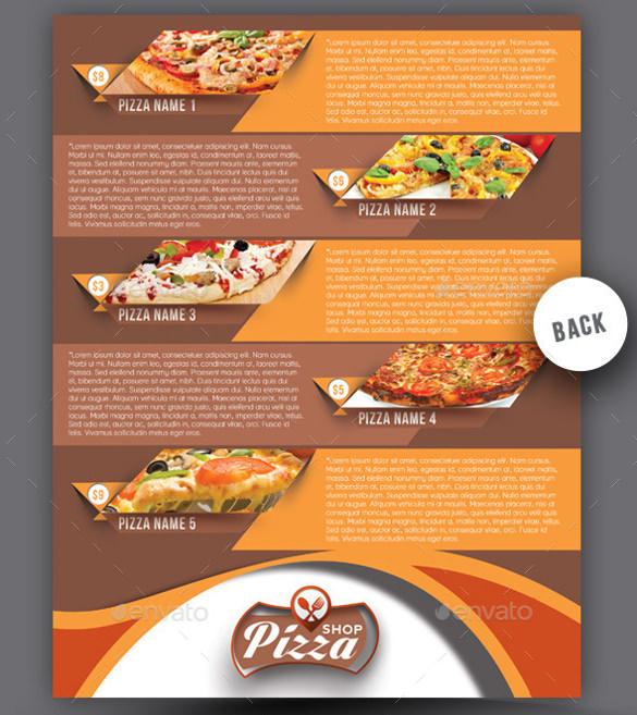 pizza shop flyer menu card psd format download