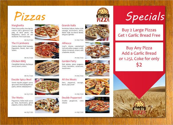 Pizza Menu Templates  Free Sample Example Format Download
