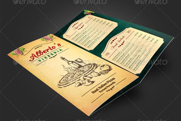 trifold pizzeria menu psd format download