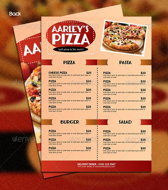 Pizza menu templates free sample example format