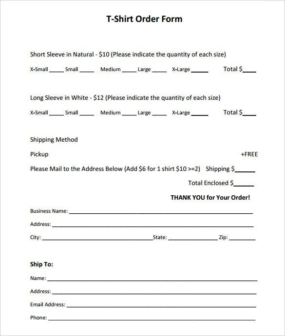 t shirt order forms templates T-Shirt Order Form Template - 26  Free Word, PDF Format Download ...