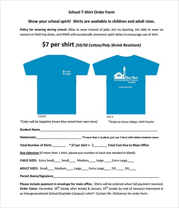 School T Shirt Order Form Template Pdf Free Download