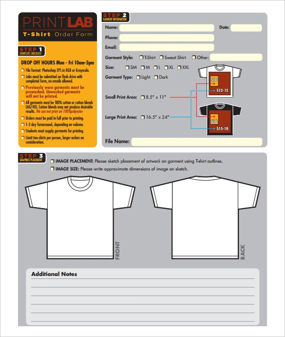 free printlab t shirt order form template download