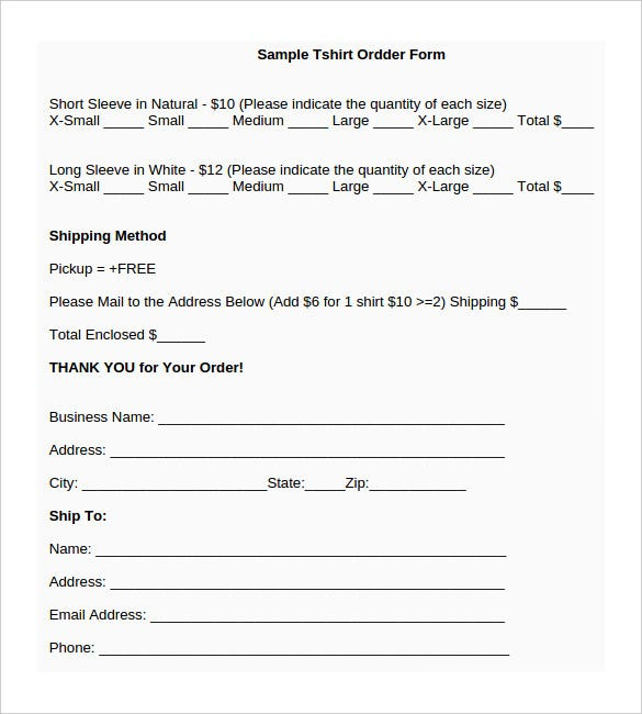 Shirt Order Form Template Word