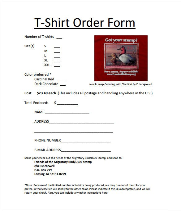 t shirt order form template in all sizes pdf download
