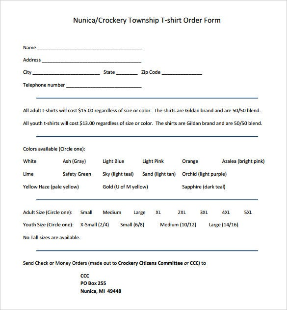 nunica crockery township t shirt order form free printable