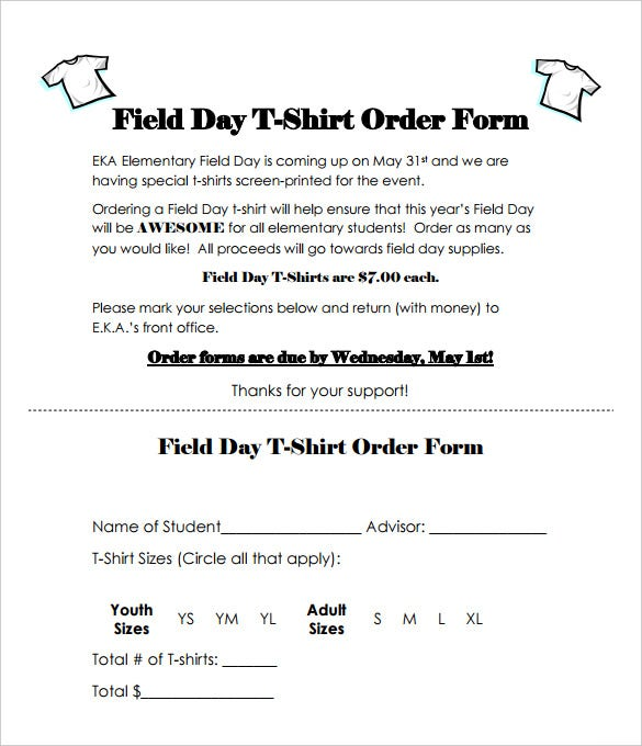 field day t shirt order form free pdf download