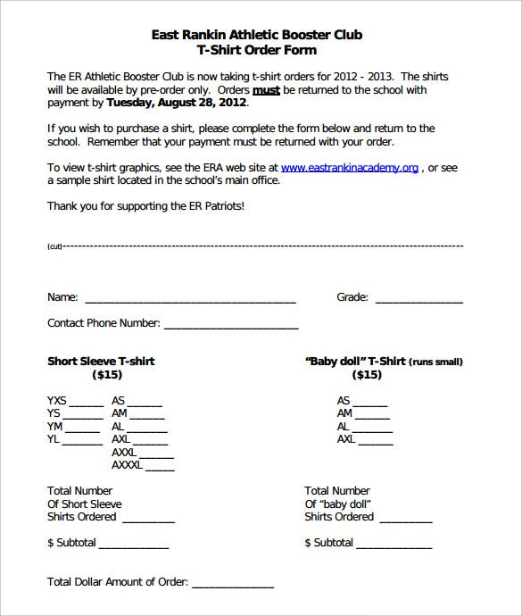download east rankin athletic booster club t shirt order form