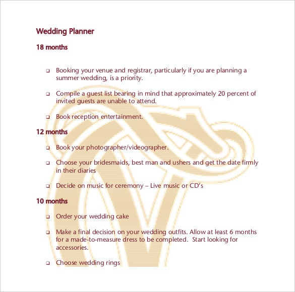 wedding planner template 10 free word pdf documents download