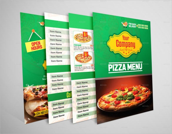 bi fold pizza menu vector ai illustrator format download