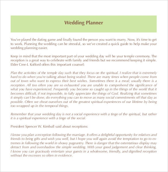 best wedding planner template for download