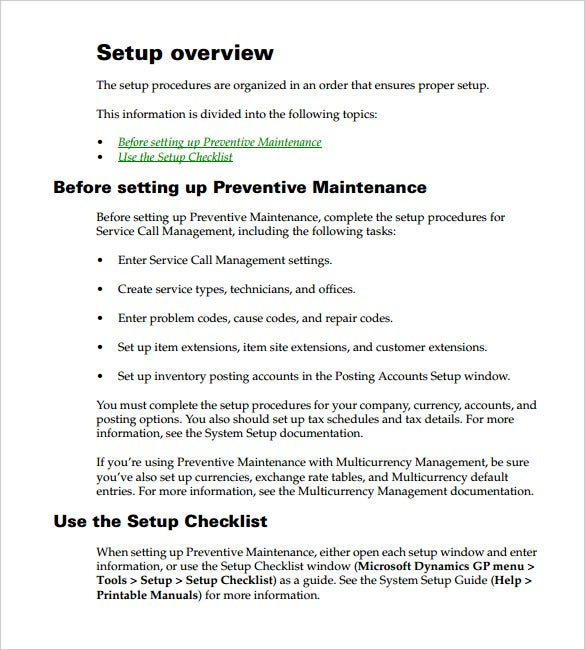 preventive maintenance schedule access template pdf format