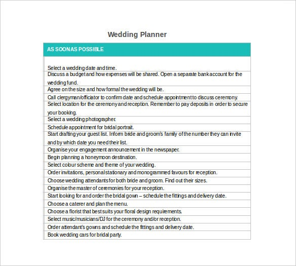 Wedding Planner Template   Free Word Pdf Documents Download
