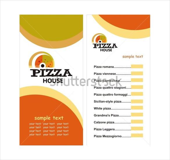vector illustrator format of pizza menu template download