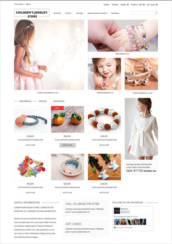 childrens jewelry store prestashop theme