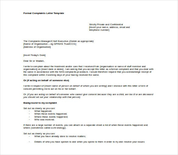 formal complaint letter free word download