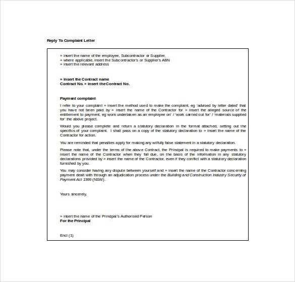 reply to complaint letter free word download