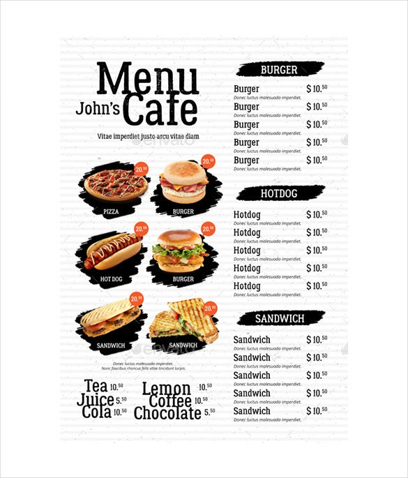 simple cafe menu psd format download