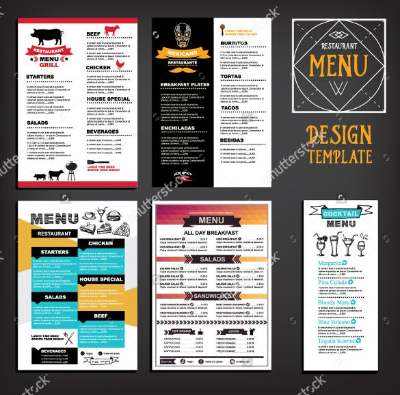restaurant cafe menu template design sample download