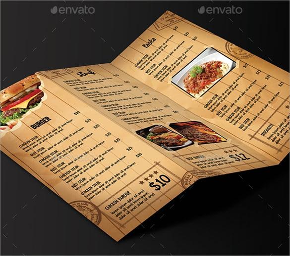 trifold cafe menu ai illustrator format download