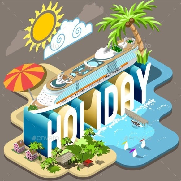 summer cruise vacation holiday postcard template