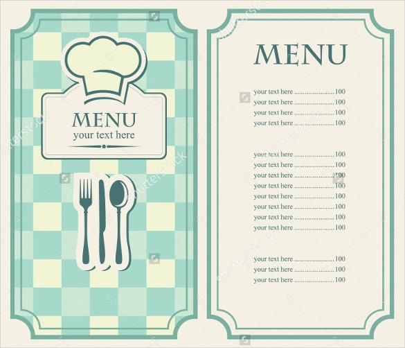 example green menu for a cafe or restaurant template