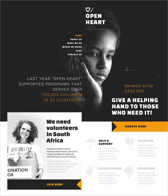 charitable donation non profit html5 joomla template 752