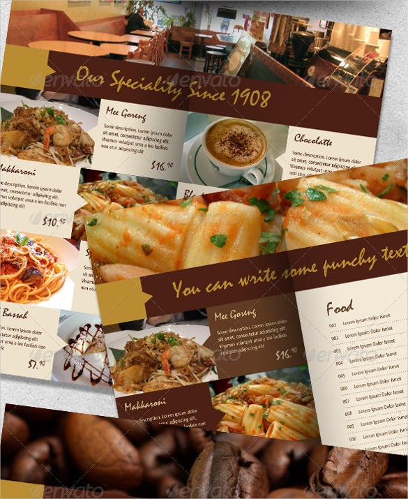 cafe menu indesign format template download