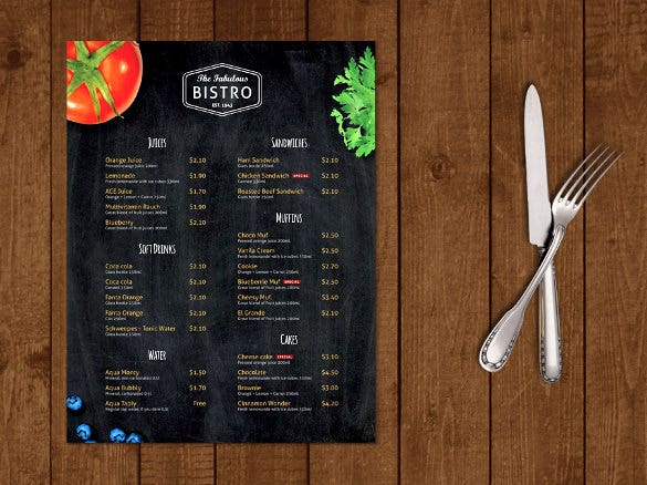 Modern Bistro Cafe Menu Template Sample Download