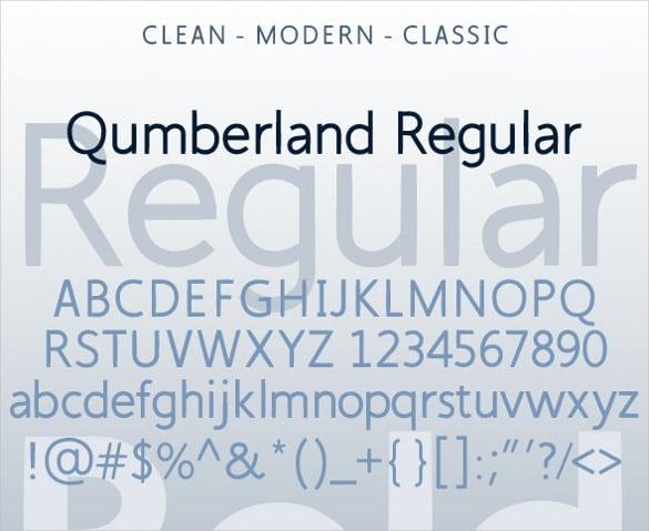 qumberland regular modern font