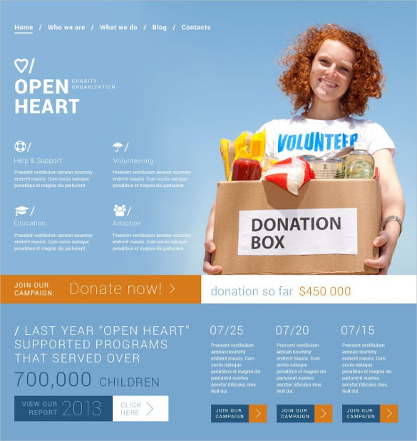 solution for charity sites non profit blog joomla template 752
