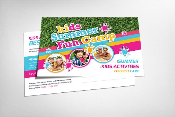 kids summer camp postcard