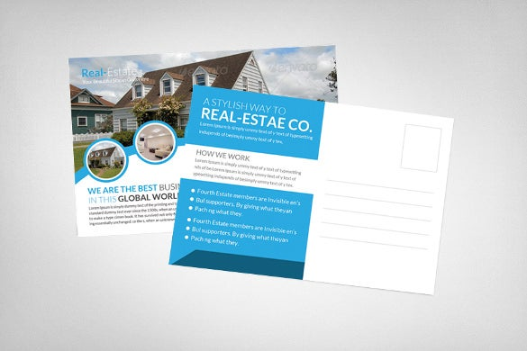 unique real estate postcard template