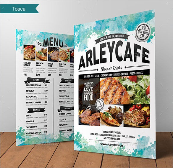 watercolor cafe menu flyer ai illustrator format download