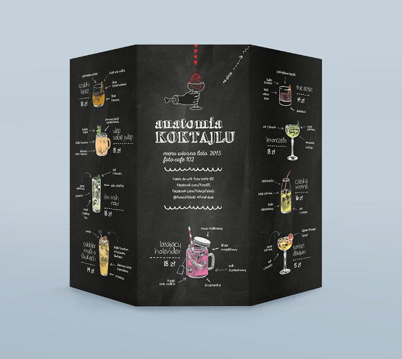 foto cafe menu anatomia koktajlu template sample download