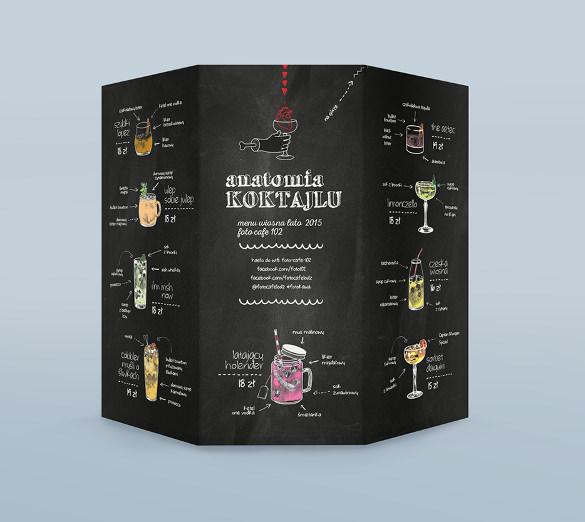 foto cafe menu anatomia koktajlu template sample download