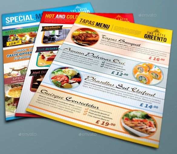 example restaurant and cafe menu template download